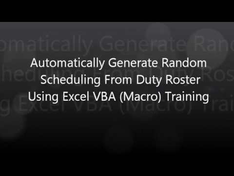 Automatically Generate Random Scheduling in Excel