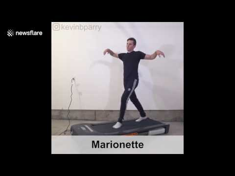 Man hilariously demonstrates 100 ways to walk on a treadmill