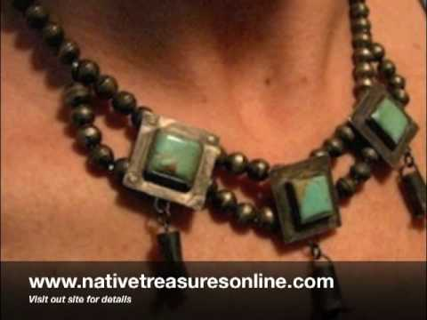 Early Navajo Squash Blossom Necklace and Earring set