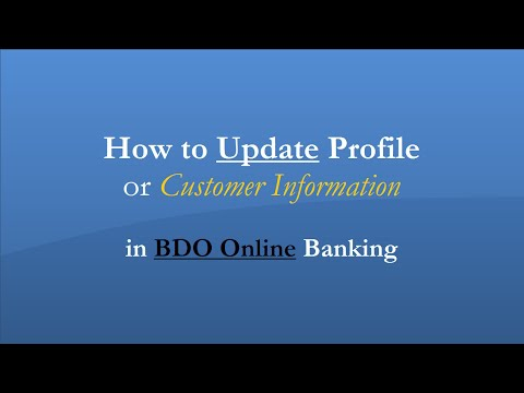 How to Update Profile or Customer Information in BDO Online Banking