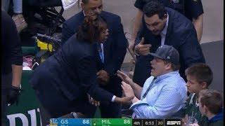 Klay Thompson gets Bucks Fan ejected for trash talk!