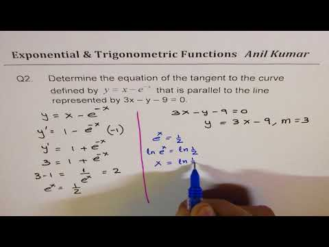 Equation of Tangent Line for Trigonometri Exponential Functions