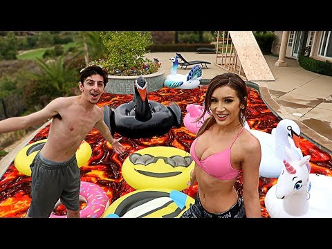 THE POOL IS LAVA CHALLENGE ft. Molly Eskam!!
