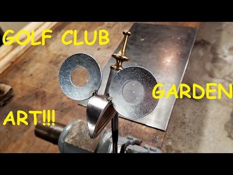 Garden Art Golf Bird using Golf Clubs and recycled materials!!