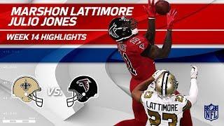 The Battle of Julio Jones & Marshon Lattimore!   Saints vs. Falcons   Wk 14 Player Highlights
