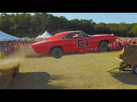 Cop Car Ford Crown Vic Transformed Into a General Lee Dodge Charger and Jumped