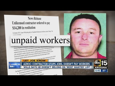 Arizona Registrar of Contractors looking for man known to leave customers, sub-contractors hanging