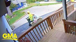 Doorbell camera catches sweet moment of sanitation worker helping elderly woman l GMA Digital