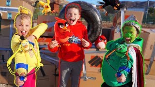 Angry Birds IN REAL LIFE!! Box Fort Battle!