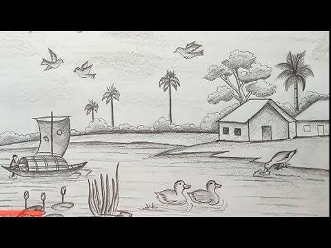 How to draw a Riverside Village Scenery.Step by step(easy draw)