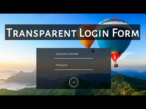 How to create Transparent Login Form with HTML & CSS