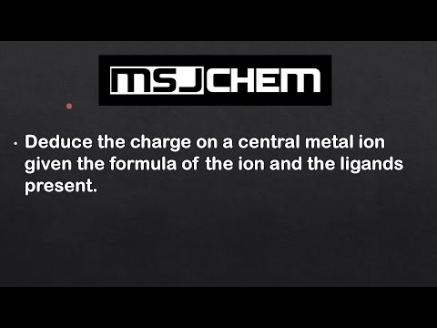 13.1 Determine the oxidation state and charge on a central metal ion (HL)