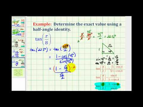 Example:  Determine a Tangent Function Value Using a Half Angle Identity