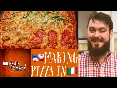 American Guy Making Pizza In Italy