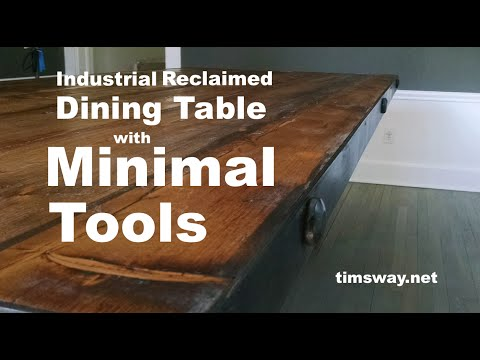 Industrial Reclaimed Dining Table with Minimal Tools