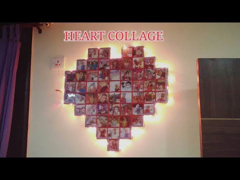 HANDMADE HEART PHOTO COLLAGE ON WALL WITH LIGHTS