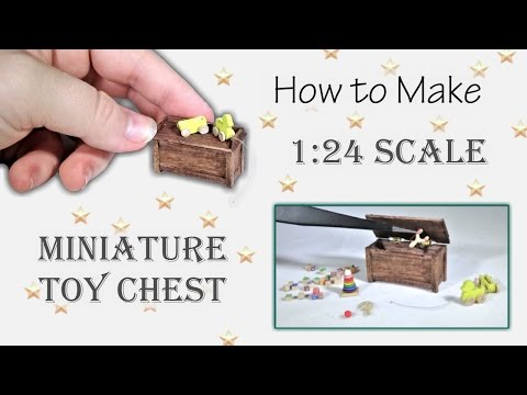 Miniature Toy Chest Tutorial (opens and closes!) | Dollhouse | How to Make 1:24 Scale DIY