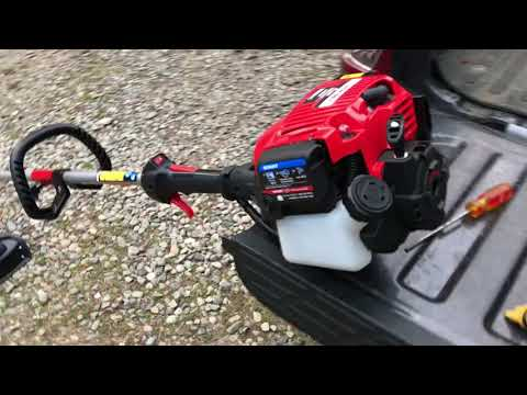 Troy Bilt 4 cycle 30cc Weed Wacker Unboxing Assembly and Use
