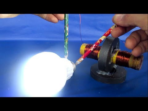 Free energy electricity using Wire self running with Light bulbs - DIY Projects experiment 2018