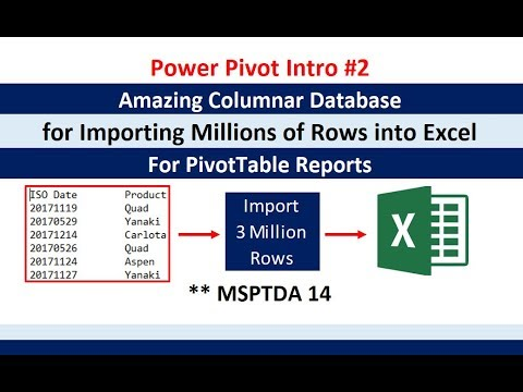 MSPTDA 14: Power Pivot Into #2: Amazing Columnar Database Importing Millions of Rows Data into Excel
