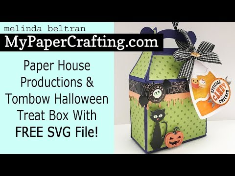 Crafty Melinda My Paper Crafting Paper House & Tombow Halloween Treat Box FREE SVG Files