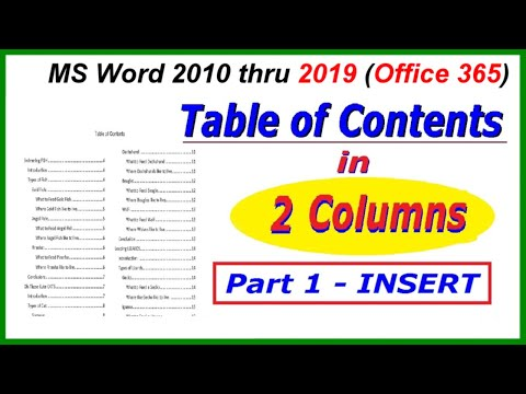 Word 2016, 2013 & 2010: Table of Contents Multi - TWO COLUMN - Insertting