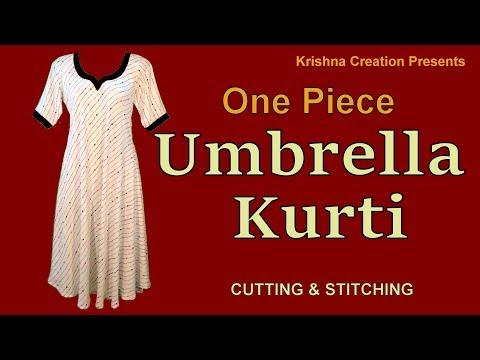 One piece Umbrella Kurti | अम्ब्रेला कुर्ती | Cutting and Stitching By Krishna Creation