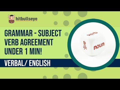 Grammar - Subject Verb Agreement - Under One Minute