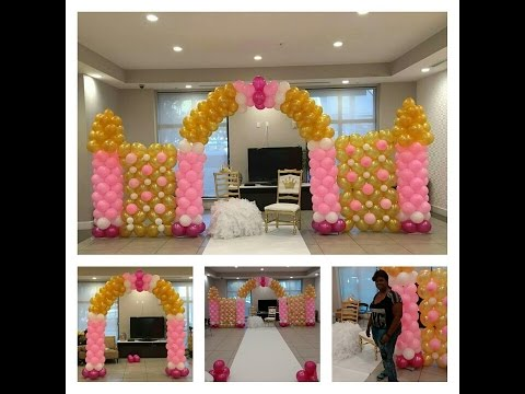 How to Build a Balloon Castle Wall for a Princess Theme Party Pink and Gold Decorations