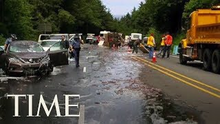 truck full of eels overturns and covers highway in slime in oregon leading to a 5 car pileup time