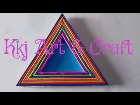 How to make triangular photo frame  easy and colourful photo frame  simple photo frame