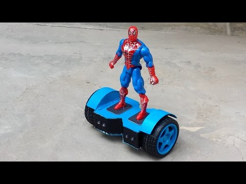 How to make a mini HOVER BOARD / SWEGWAY for Mini SPIDER-MAN (Remote Controlled)