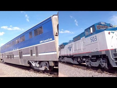 Amtrak Southwest Chief with Dash 8 #503 and Surfliner Cafe Coach 3/21/17