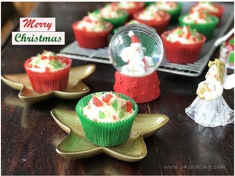 Christmas Cherry Cupcakes - Easy Christmas themed cupcake recipe