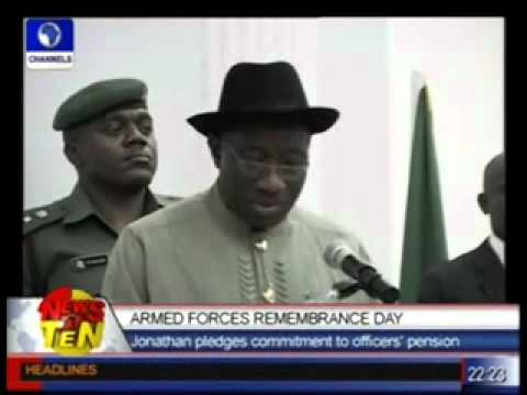 Armed Forces remembrance Day:Pres.Jonathan pledges commitment to officers' pension