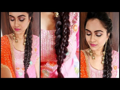 SuperEasy Braid Hairstyle-Punjabi Braid Look for INDIAN Party/WEDDING GUEST