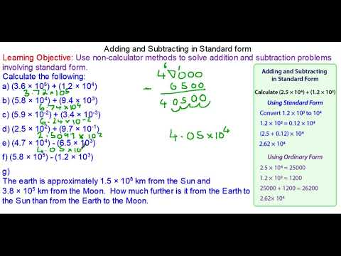 Adding and Subtracting with Numbers in Standard Form