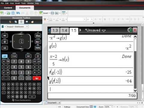 Ti Nspire CAS Calculator Evaluating Composite Functions