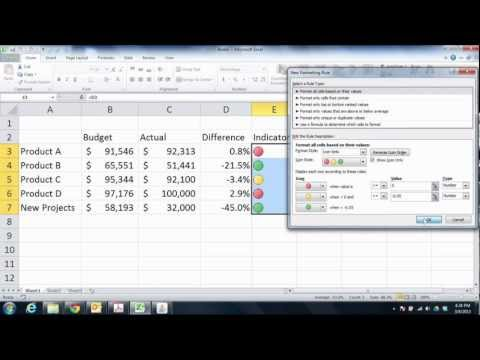 Creating Performance Indicators with Excel 2010 Conditional Formatting