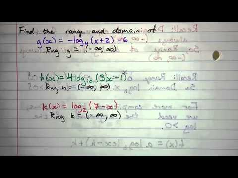 6.2.3 - Domain and Range of a Logarithm Function