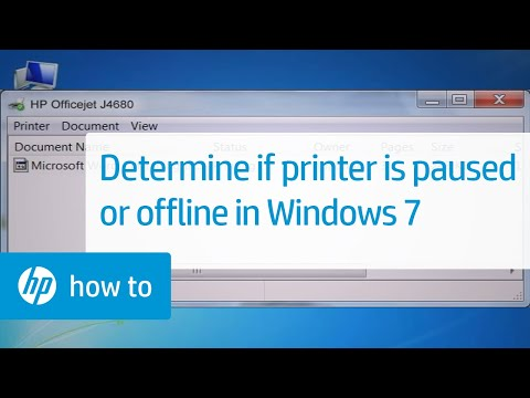 Determine Whether the Printer Is Paused or Offline in Windows 7