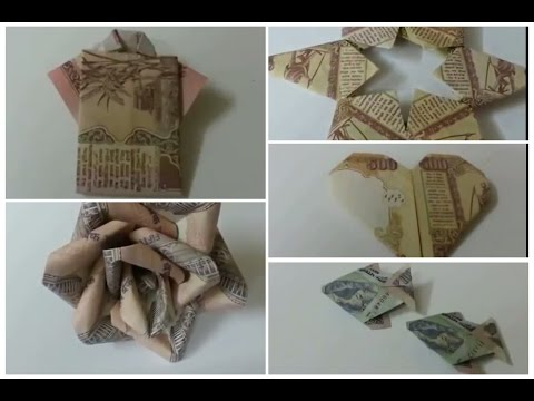 DIY 5 Simple Money Origami Rose Flower, Fish, Heart,Shirt,Star/ How to Make Money Origami .