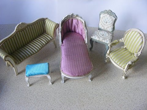 Painting and Upholstering dolls house furniture