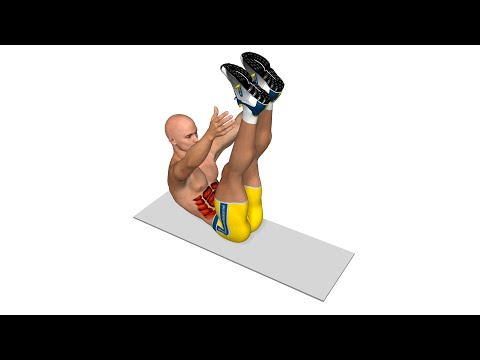 Six Pack abs: Crunch with vertical legs and touch of the ankles