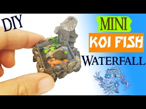 DIY MINIATURE KOI POND WATERFALL polymer clay & resin tutorial | Miniatures fish tank aquarium craft
