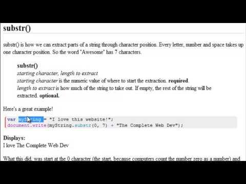 Advanced JavaScript Tutorial  |  Split and Substr