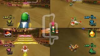 Mario Kart Wii N64 Sherbet Land 4 player Netplay race 60fps