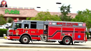 North Collier Fire Rescue Engine 44 Responding Q Siren and Air Horns