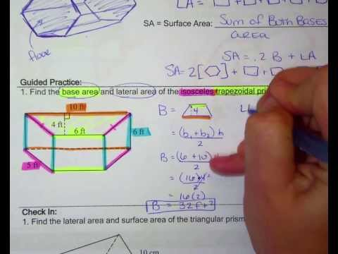 Geo Lesson 8 03 Surface, Base, Lateral area of Prisms