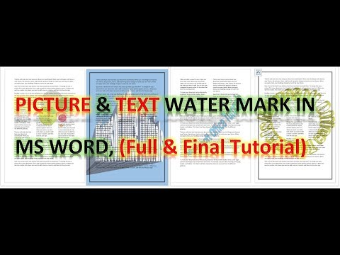 How to Insert Watermark in Word | Picture Watermark | Add watermark  in MS Word